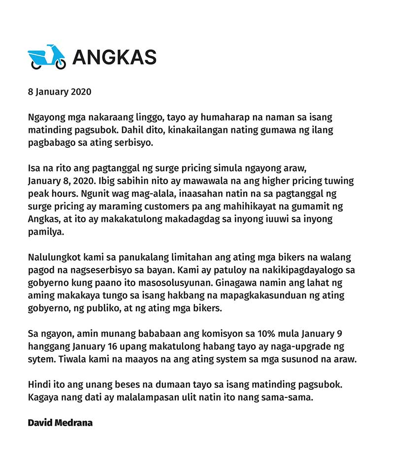 Angkas Surge Pricing Memo
